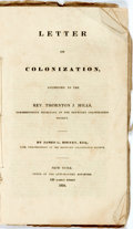 Books:Americana & American History, Birney, James: LETTER ON COLONIZATION, ADDRESSED TO THE REV.THORNTON J. MILLS, CORRESPONDING SECRETARY OF THE KENTUCKY COLO...