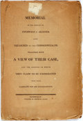 Books:Americana & American History, Law: MEMORIAL OF THE SURETIES OF THOMPSON J. SKINNER, LATETREASURER OF THE COMMONWEALTH, TOGETHER WITH A VIEW OF THEIRCASE...