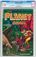 Golden Age (1938-1955):Science Fiction, Planet Comics #73 (Fiction House, 1953) CGC FN/VF 7.0 Off-white towhite pages....