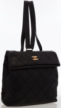 "Luxury Accessories:Bags, Chanel Black Quilted Caviar Leather Backpack. ExcellentCondition. 10"" Width x 10"" Height x 3"" Depth, 13""Shou..."