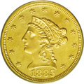 Liberty Quarter Eagles: , 1885 $2 1/2 MS62 PCGS. A typically bold and moderately prooflikepiece that is kept from a higher Mint State rating by a fe...
