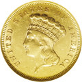 Three Dollar Gold Pieces: , 1857-S $3 AU55 NGC. This is a lovely Choice AU example, a triflesoft on the date but otherwise boldly struck and exhibitin...
