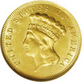 Three Dollar Gold Pieces: , 1874 $3 MS63 NGC. Average or better sharpness for this moreobtainable issue, with bright yellow-gold surfaces and a few li...