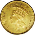 Three Dollar Gold Pieces: , 1879 $3 MS63 PCGS. A drastic drop in business strike production ofthree-dollar gold pieces occurred from 1878 to 1879, wit...