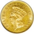Three Dollar Gold Pieces: , 1882 $3 MS63 PCGS. 2 Over High 2, Breen-6396. This dramaticallyrepunched date may actually be diagnostic to all 1882 three...