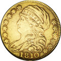 Early Half Eagles: , 1810 $5 Large Date, Large 5 VF25 PCGS. Breen-6459, B. 1-A,Miller-109, R.2. The surfaces are straw-gold in the centers, mel...