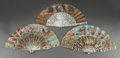 Decorative Arts, French:Other , THREE FRENCH PAINTED AND GILT PAPER, AND MOTHER-OF-PEARL FANS WITHSTANDS, 19th century. 10-5/8 inches high x 20 inches wide...(Total: 3 Items)