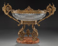 Decorative Arts, French:Other , A FRENCH CUT-GLASS CENTER BOWL WITH GILT BRONZE MOUNTS AND MARBLEBASE, circa 1865. 17-3/4 x 24 x 12 inches (45.1 x 61.0 x 3...