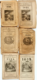 Books:Americana & American History, [Almanac] The New England Anti-Masonic Almanac. Boston: JohnMarsh, [1829, 1831-1835]. Original wrappers, string-bou...