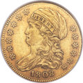 Early Half Eagles, 1808 $5 Wide 5D, BD-4, High R.3, AU55 NGC....