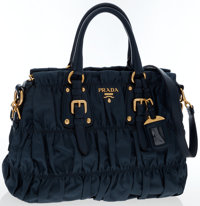 Prada Blue Tessuto Gaufre Satchel Bag with Gold Hardware