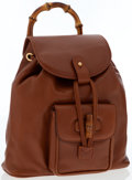 Luxury Accessories:Bags, Gucci Brown Leather Bamboo Backpack Bag. ...
