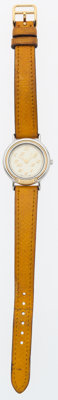 Hermes Stainless Steel & Gold Arceau Watch with Cumin Courchevel Leather Strap