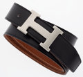 Luxury Accessories:Accessories, Hermes Black Calf Box & Gold Clemence Leather Reversible H Beltwith Brushed Palladium Hardware. ...