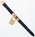 Luxury Accessories:Accessories, Hermes Gold Kelly Watch with Blue Marine Barenia Leather Strap. ...