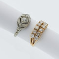 Estate Jewelry:Rings, Diamond, Gold, White Gold Rings. ... (Total: 2 Items)