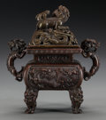 Asian:Chinese, A CHINESE PATINATED BRONZE CENSOR. Marks: (two-character marks). 6 inches high (15.2 cm). Property of the Estate of Mr. an... (Total: 2 Items)