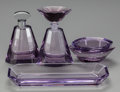 Art Glass:Other , A FOUR PIECE MOSER GLASS VANITY SET, circa 1930. 5-3/4 inches high(14.6 cm) (tallest bottle). ... (Total: 4 Items)