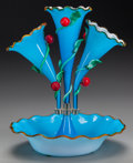 Art Glass:Other , A FRENCH BLUE OPALINE GLASS EPERGNE WITH APPLIED FRUIT, circa 1880.15 inches high (38.1 cm). ...
