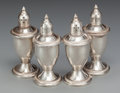 Silver Holloware, American:Other , TWO PAIR OF AMERICAN SILVER SALT AND PEPPER SHAKERS, 20th century.Marks: STERLING WEIGHTED, PAT. PEND.. 4-3/4 inches hi...(Total: 4 Items)