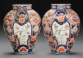 Asian:Japanese, A PAIR OF JAPANESE IMARI PORCELAIN VASES. 17 inches high (43.2 cm).... (Total: 2 Items)