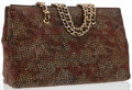 Luxury Accessories:Bags, Judith Leiber Brown Suede & Multicolored Pebble Tote Bag . ...