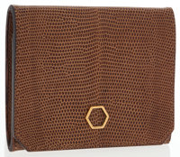 """Christian Dior Brown Lizard Small Wallet Very Good to Excellent Condition 3.5"""" Width x 3"""" Height"""