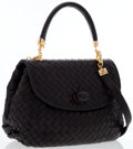 Luxury Accessories:Bags, Bottega Veneta Black Intrecciato Nappa Leather Satchel Bag. ...