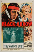"Movie Posters:Serial, Black Arrow (Columbia, R-1955). One Sheet (27"" X 41"") Chapter 13 -- ""The Sign of Evil."" Serial.. ..."