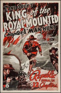 """King of the Royal Mounted (Republic, 1940). One Sheet (27"""" X 41""""). Chapter One -- """"Manhunt."""" Serial..."""