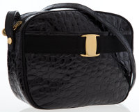 Salvatore Ferragamo Black Crocodile Embossed Leather Vara Ribbon Shoulder Bag