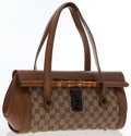 Luxury Accessories:Bags, Gucci Brown Leather & Classic Monogram Canvas Shoulder Bag withBamboo Detail. ...