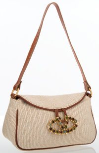 Valentino Brown Leather & Beige Woven Fabric Shoulder Bag
