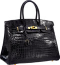 "Luxury Accessories:Bags, Hermes 35cm Shiny Black Porosus Crocodile Birkin Bag with Gold Hardware . Very Good Condition . 14"" Width x 10"" Height..."
