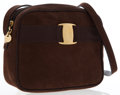 Luxury Accessories:Bags, Salvatore Ferragamo Brown Suede Vara Ribbon Shoulder Bag . ...