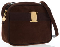 Salvatore Ferragamo Brown Suede Vara Ribbon Shoulder Bag
