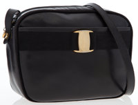 Salvatore Ferragamo Black Leather Vara Ribbon Shoulder Bag