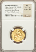 Ancients:Byzantine, Ancients: Maurice Tiberius (AD 582-602). AV lightweight solidus of23 siliquae (4.24 gm). ...
