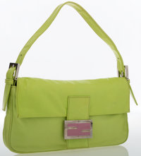 Fendi Green Leather Baguette Bag with Silver Hardware