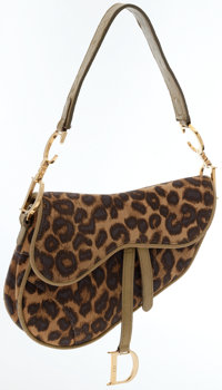 Christian Dior Green Leather & Leopard Canvas Saddle Bag