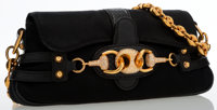 Gucci Snakeskin & Black Satin Evening Bag with Horsebit Clasp and Shoulder Chain