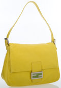 Luxury Accessories:Bags, Fendi Yellow Leather Mama Baguette Bag with Silver Hardware . ...