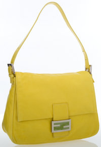 Fendi Yellow Leather Mama Baguette Bag with Silver Hardware