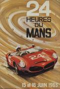 Paintings, LE MANS ORIGINAL EVENT ADVERTISING POSTER BY G. LAYGNAC, 1963. 22-1/2 x 15 inches (57.2 x 38.1 cm). ...
