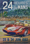 Automobilia, LE MANS ORIGINAL EVENT ADVERTISING POSTER BY MICHEL BELIGOND, 1962.22-1/2 x 15-1/2 inches (57.2 x 39.4 cm). ...