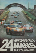 Paintings, LE MANS ORIGINAL EVENT ADVERTISING POSTER BY ANDRE DELOURMEL, 1966. 22-1/2 x 15-1/2 inches (57.2 x 39.4 cm). ...