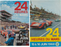 Paintings, PAIR OF LE MANS ORIGINAL EVENT ADVERTISING POSTERS BY ANDRE DELOURMEL, 1967-68. 22-1/2 x 14-1/2 inches (57.2 x 36.8 cm) and ... (Total: 2 Items)