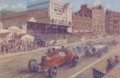 Automobilia, PETER HEARSEY (British, 20th/21st Centuries). 1930s EuropeanMotor Racing Scene, circa 1990s. Oil on canvas. 17 x 26 inc...