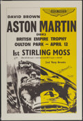 Automobilia, REPRODUCTION 1958 ASTON MARTIN POSTER SIGNED BY STIRLING MOSS ANDTONY BROOKS, 1980'S. 40 x 27-1/2 inches (101.6 x 69.9 cm)...