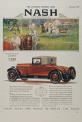 Automobilia, NASH SATURDAY EVENING POST POSTER, 1927. 41-3/4 x 28 inches (106.0 x 71.1 cm). ...